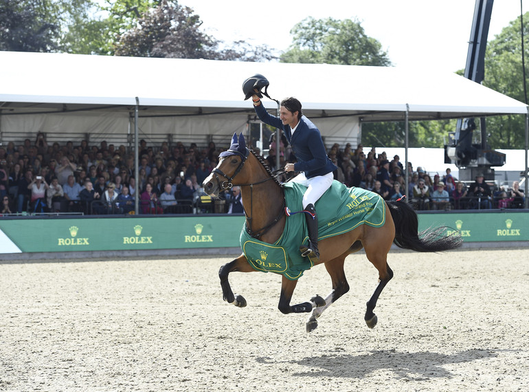 Steve Guerdat riding Albführen's Bianca winner of the Rolex Grand Prix