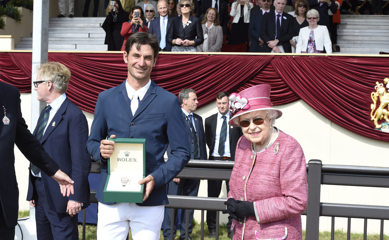 Steve Guerdat riding Bianca winner of the Rolex Grand Prix with Her Majesty The Queen