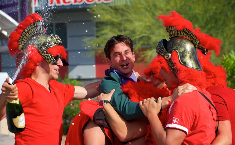 Switzerland's Olymoic champion Steve Guerdat celebrates  with his family and friends after victory in the Longines FEI World Cup™ Jumping Final in Las Vegas (USA). Equestrian - Longines FEI World Cup™ Jumping Final in Las Vegas (USA) date 15/04/2015 - 19/04/2015 Credit: FEI/Arnd Bronkhorst/Pool Pic Disclaimer: Free of charge for editorial use. For further information, contact Ruth Grundy +41 78 750 61 45, ruth.grundy@fei.org