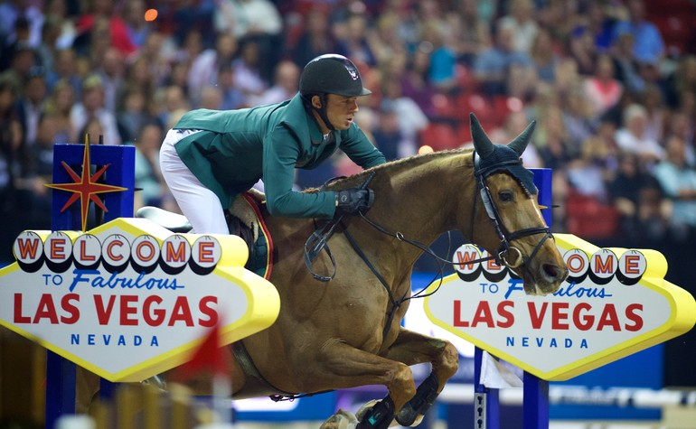 Olympic champion Steve Guerdat (SUI) finally claimed the big prize that has eluded him, the Longines FEI World Cup™ Jumping Final in Las Vegas (USA), riding the mare Albfuehrer's Paille. Equestrian - Longines FEI World Cup™ Jumping Final in Las Vegas (USA) date 15/04/2015 - 19/04/2015 Credit: FEI/Arnd Bronkhorst/Pool Pic Disclaimer: Free of charge for editorial use. For further information, contact Ruth Grundy +41 78 750 61 45, ruth.grundy@fei.org